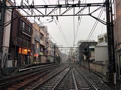 (tripu) Tags: city rain japan tokyo march wire shinjuku track afternoon weekend walk perspective cable rainy railtrack 2015 ochiai