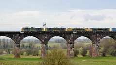 Freightliner class 86s_4K44_86612, 86614, 86638, 86622_Dutton Viaduct_070315_01 (DS 90008) Tags: electric train track carriage scenic engineering railway cargo viaduct container locomotive waterway containers wagons freighttrain freightliner class90 networkrail riverweaver wcml ohle railtransport freightloco 86614 86622 86638 class70 duttonviaduct 86612 class86s electricfreight