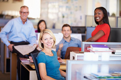 Portrait Of Businesspeople In Modern Open Plan Office (Twin Work & Volunteer) Tags: portrait people woman man black male men smiling horizontal businessman architecture modern female asian happy person design office thirties team women sitting fifties desk designer contemporary group working creative meeting business indoors architect busy staff together planning africanamerican worker casual 50s discussion talking colleague employee 30s 20s caucasian openplan occupation twenties businesswoman humanface lookingatcamera unitedkingdomofgreatbritainandnorthernireland fivepeople multiethnicgroup