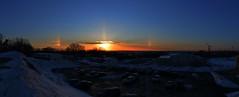 Sundogs 2 (thomas.hartmann496) Tags: new york blue sunset sky panorama orange sun cold color ice weather landscape fire evening photo crystals troy institute albany sundog hdr phenomenon rpi sundogs polytechnic rensselaer