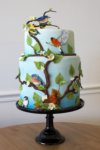 Hand Painted Birds of New England Wedding Cake