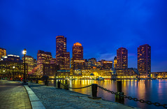 Boston Blue Hour (Daniel.Peter) Tags: boston skyline night waterfront bluehour bostonwaterfront dpe3x