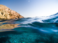 Half dry, half wet (GeorgeVog) Tags: summer underwater outdoors sea beach sun sunny half colours water greece greek horizon nik software google lightroom raw landscape seascape george vogiatzoglou wideangle