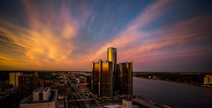 Day end (Notkalvin) Tags: sunset colors skyline architecture night clouds buildings evening outdoor detroit perspective jefferson lookingdown cloudporn renaissancecenter jeffersonavenue gmbuilding mikekline notkalvin notkalvinphotography renecen
