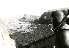Scuba diver overlooks the beach (PUC Special Collections) Tags: california coastal mendocino 1960s norcal 1970s biology tidepools puc albion estuaries mendocinocounty pacificunioncollege albionfieldstation albionbiologicalfieldstation pucbiologydepartment
