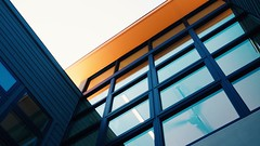(killyourcar) Tags: upshot orange windows glass ceilingfan roof eave blur morning