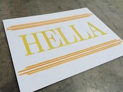 Hella letterpress postcard (artnoose) Tags: etsy stripes letters capital type wood orange yellow metal rule lines berkeley oakland postcard letterpress hella