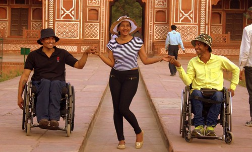 Accessible Agra Tour fun:A group of friends enjoying their trip to Agra