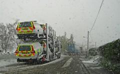 In Case of Emergency (RoystonVasey) Tags: canon ixus 95 west yorkshire snow car transporter ambulance responder volvo mk2 mk3 t5 t6 emergency vehicle 999 blue light