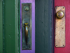 160 & 164 E. 11th (James_D_Images) Tags: door handle montage diptych old building vancouver britishcolumbia green purple red brass patina closeup