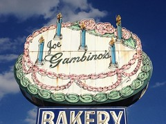 Gambino's Bakery (jericl cat) Tags: roses classic sign rose cake vintage neon candles candle neworleans pole bakery icing animated bake porcelain enamel gambinos