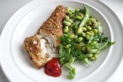 Fish Friday (bellaphon) Tags: fish salad bean delicious ms soybean edamame haddock marksandspencer fillet heinztomatoketchup lightlydustedseeded