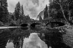 The Ahwanee Bridge (eugene.soroka@att.net) Tags: california travel bridge sky nature clouds reflections river nationalpark merced yosemite granite ahwanee