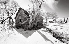 House of Argue (/ shadows and light) Tags: trees winter sky bw sun snow cold abandoned monochrome rural countryside decay manitoba derelict abandonment decayed argue ruralexploration rurex trixgrain