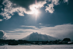 The Light of 2015 (jasohill) Tags: life city winter light sun mountain cold nature japan clouds season landscapes heaven day god iwate newyears matsuo hachimantai 2015 canonef24mmf28