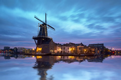 Adriaan Molen (Lee Sie) Tags: sky holland reflection haarlem water netherlands windmill dutch night clouds sunrise lights canal
