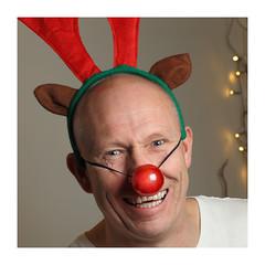 The Special One (seegarysphotos) Tags: christmas red portrait man reindeer nose happy funny lol joke antlers laugh giggle lmao garylewis clownsnose seegarysphotos