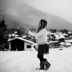 ~`~ (~ M a t e ~) Tags: winter portrait bw snow girl square fun snowflakes austria child seefeld kidslife