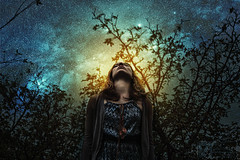 Breathe (Felix Alexander Photo) Tags: wood blue light orange woman sun girl stars glow space branches prayer halo galaxy breathe