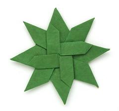 Fujimoto square Rosette  32 front (Pliages et vagabondages) Tags: square star origami rosette fujimoto