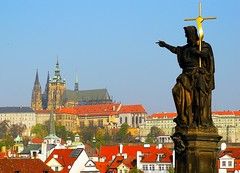 Statue of St.Wenceslaus on Charles bridge, Prague (jackfre2) Tags: prague bluesky czechrepublic charlesbridge hradcany stvituscathedral castledistrict redroofs stwenceslaw