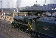 45593 Skipton station. April 1966 (Brit 70013 fan) Tags: hat jubilee yorkshire engine 1966 steam bowlerhat bowler skipton no5 britishrailways kolhapur jinty black5 45593 southyorkshireman