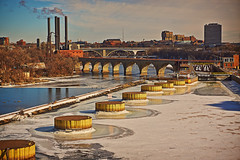 Winter on the Mississippi (Ryan Fonkert) Tags: winter usa color ice downtown sony streetphotography minneapolis msp smokestacks mississippiriver mn stonearchbridge moostower lockdam streetsofminneapolis nex6 ryanfonkertphotography