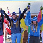 Canada Winter Games Ski Cross - Katie Fleckenstein and Nicole Mah on the podium PHOTO CREDIT: Steve Fleckenstein