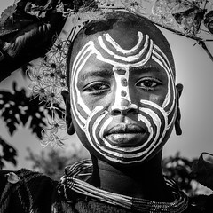 surma N&B omo valley. Ethiopia (courregesg) Tags: africa travel portrait people bw woman art girl beauty painting femme traditional culture tribal nb omovalley anthropologie ethiopia tribe ethnic bodyart fille civilisation gens younggirl ethnology tribu omo eastafrica ethnie ethnographie