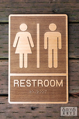 Laser Engraved Restroom Sign with Braille (thea superstarr) Tags: sign braille conferenceroom bathroomsign lasercut alderwood woodsign officesigns laserengraved 6by6arts customlasercutsign signswithbraille lionheartcoffeecompany
