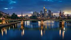 Skyline (Bastian.K) Tags: city blue sky skyline zeiss 35mm river dawn iron dusk frankfurt sony main himmel carl cz bluehour 20 sunstar mainhattan blaue sunstars stunde loxia grosstadt emount blendenstern blendensterne a7rii a7r2 a7rm2 loxia3520