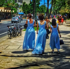 Ladies in Blue (jcc55883) Tags: kalakauaavenue blue bluedresses visitors tourists fashion oahu hawaii waikiki kuhiobeachpark ipad ipadair