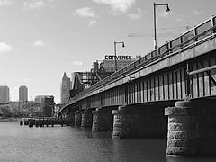 Charlestown Bridge (oxfordblues84) Tags: boston massachusetts bostonmassachusetts sky tudorwharf charlestownbridge bw blackandwhite skyline bostonskyline buildings building charlestown converseworldheadquarters customhouse water stone piers stonepiers