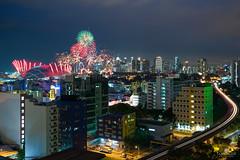Seasonal (kiatography1) Tags: festival architecture night buildings festive landscapes singapore fireworks shots outdoor cityscapes celebrations lighttrails bluehour hdb ndprehearsal singaporesportshub sportshub sg2016 ndp2016