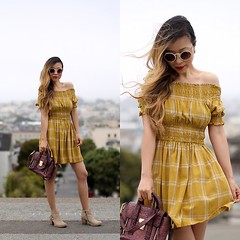 MUSTARD OFF SHOULDER by Sasa Z., girl from New York, United States (9lookbook.com) Tags: cateye celinebag chanel cutout floral fringe friyay givenchy halter minipashli mixprints mustard musthaves offshoulder onsale ontheblog peplum print quay romantic shallwesasa summerstyle tassel trends valentino