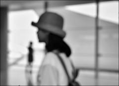 F_DSC4935-BW-Ninkon D800E-Nikkor 28-300mm-May Lee  (May-margy) Tags: portrait bw blur glass silhouette bokeh taiwan trainstation frame          taichungcity  repofchina maymargy nikkor28300mm maylee  mylensandmyimagination streetviewphotographytaiwan   linesformandlightandshadows fdsc4935bw ninkond800e