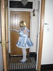 CIMG6766 (sissybarbie1066) Tags: baby satin sissy maid uniform blue answering front door plumping cushion