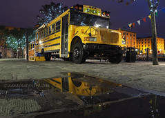 Diner Bus, Salthouse Dock (.annajane) Tags: diner schoolbus albertdock puddle water bus salthousedock liverpool uk england merseyside reflection