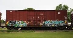 Myth/Erupto (quiet-silence) Tags: graffiti graff freight fr8 train railroad railcar art myth erupto sws d30 dirty30 a2m vts boxcar bnsf bnsf727371