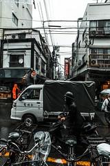 () Tags: tokyo tsukiji chuo japan nippon rain fish market people bikes street photography