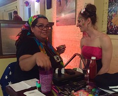 Burlesque dancer gets made up (buhrayin) Tags: grateful dead pranksters take bus ken kesey music