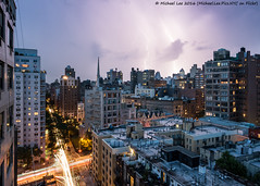 New York Lightning - 8/16/16 (P8161218-Edit) (Michael.Lee.Pics.NYC) Tags: newyork night livecomposite lightning fourthavenue traffictrail lighttrail clouds rooftops architecture olympus em5 markii mkii 1240mmpro28