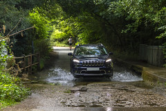 Fording the ford (Kev Gregory (General)) Tags: ford jeep cherokee limited ltd eaton bray village bedfordshire green trees wife water spray stream river shadow light frille kev gregory canon 7d