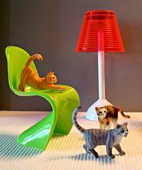 Cats (Deejay Bafaroy) Tags: cat cats katze katzen schleich bullyland 16 scale playscale minature miniatur panton chair stuhl barbie lamp lampe floorlamp stehlampe