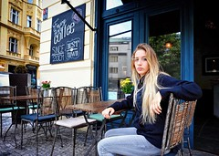 Best in Town (Steve Lundqvist) Tags: prague praha praga czech republic girl portrait street blonde bar pub local locale coffee cafe kaffee