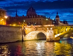 Blue hour on the Seine (brianloganphoto) Tags: night pontnotredame landscape landmark reflections vacation lights blue historical paris greffedutribunaldecommercedeparis cloud dome france bluehour conditions river water ledefrance fr