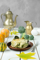 Healthy cabbage casserole at wooden table, still life (breamchub) Tags: cabbage food vegetable casserole autumn table broccoli dinner crockery wood baked material lunch cooked meal eggs cooking eating healthy breakfast color kitchen organic baking domestic rustic green temperature vegetarian heat gourmet ceramics cauliflower omelet savory sauce leaf dieting cream lifestyles preparation milk prepared recipe nutrition homemade morning indoor foodphotography