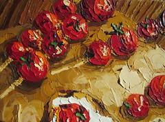 """Fragment of """"Grilled cherry tomatoes on toast""""  #OilPainting #OilOnCanvas #PaletteKnife #TexturePainting #TextureArt #Impasto #Textures #FoodArt #KitchenArt #Grilled #Tomatoes #Toast (alisa_denoizz) Tags: oilpainting oiloncanvas paletteknife texturepainting textureart impasto textures foodart kitchenart grilled tomatoes toast"""