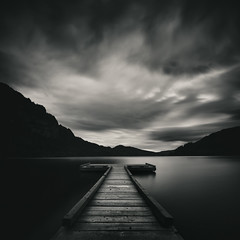 Horne Lake 6 (grantmurrayphotography) Tags: britishcolumbia grantmurray grantmurrayphotography hornelake vancouverisland blackandwhite clouds fineart jetty landscape longexposure mountains nature sky streaks sunset vancouver britishcoulmbia canada