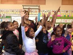 Anchorwoman Leslie Sykes interviews Baldwin Hills Magnet School Students.